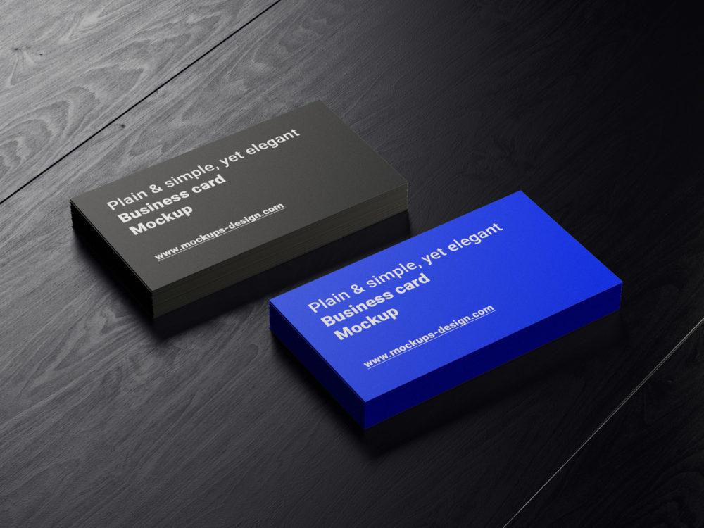 Business Cards on Dark Wood Mockup