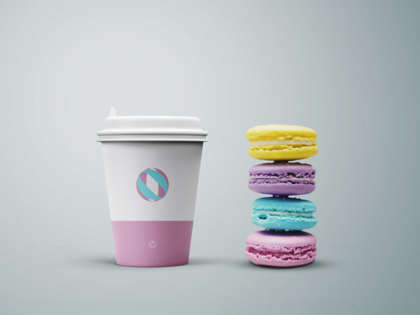 Coffee Cup and Cookies Mockup