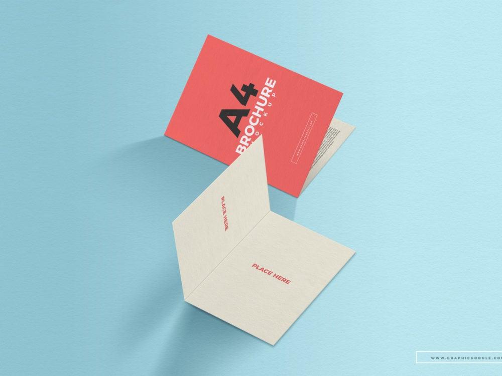 Free A4 Folded Brochure PSD Mockup