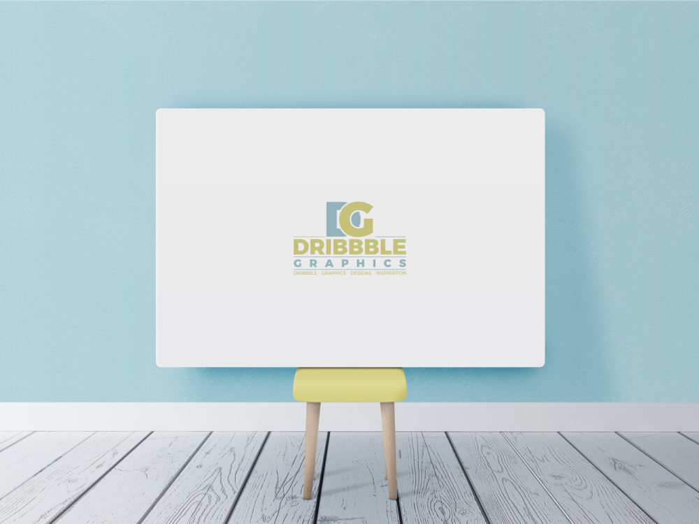 Free Horizontal Poster Canvas in Room Mockup