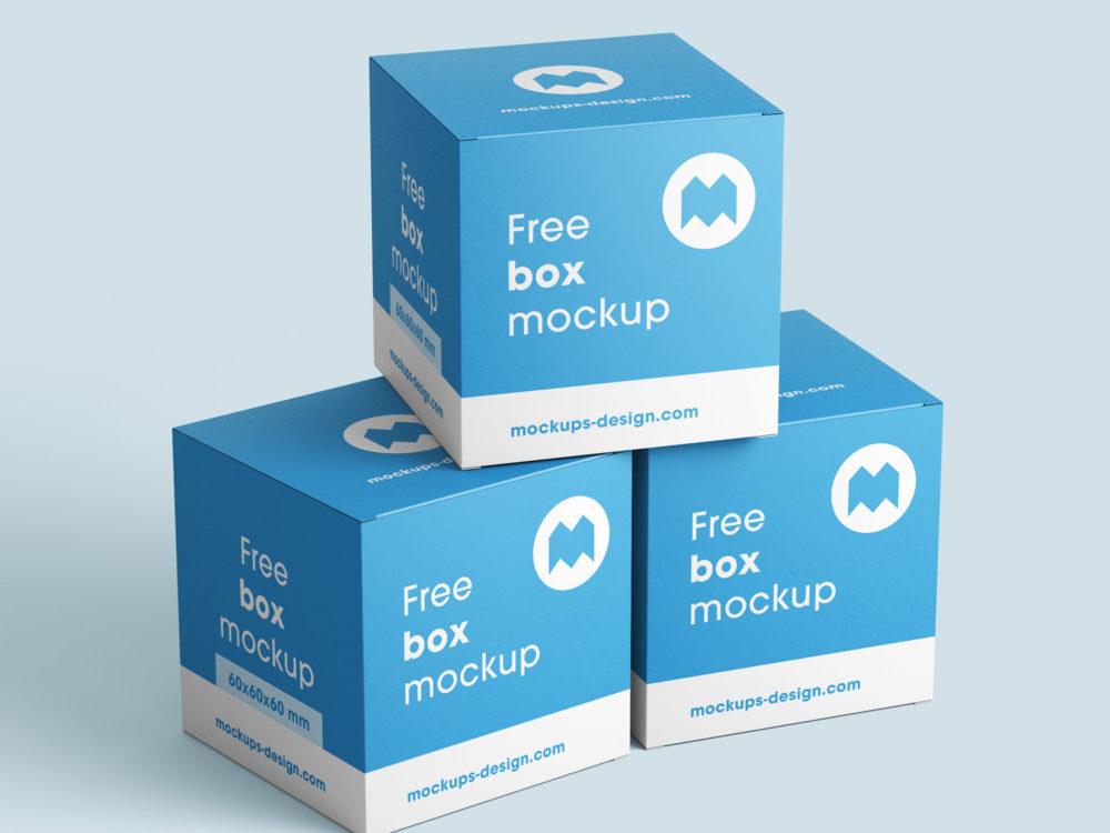 Free Box Mockup / 80x80x80 mm