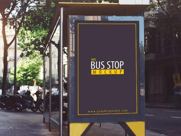 Free Bus Stop Mockup