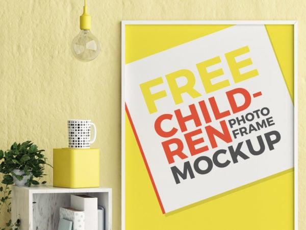 Free Kids Room Photo Frame Mockup PSD