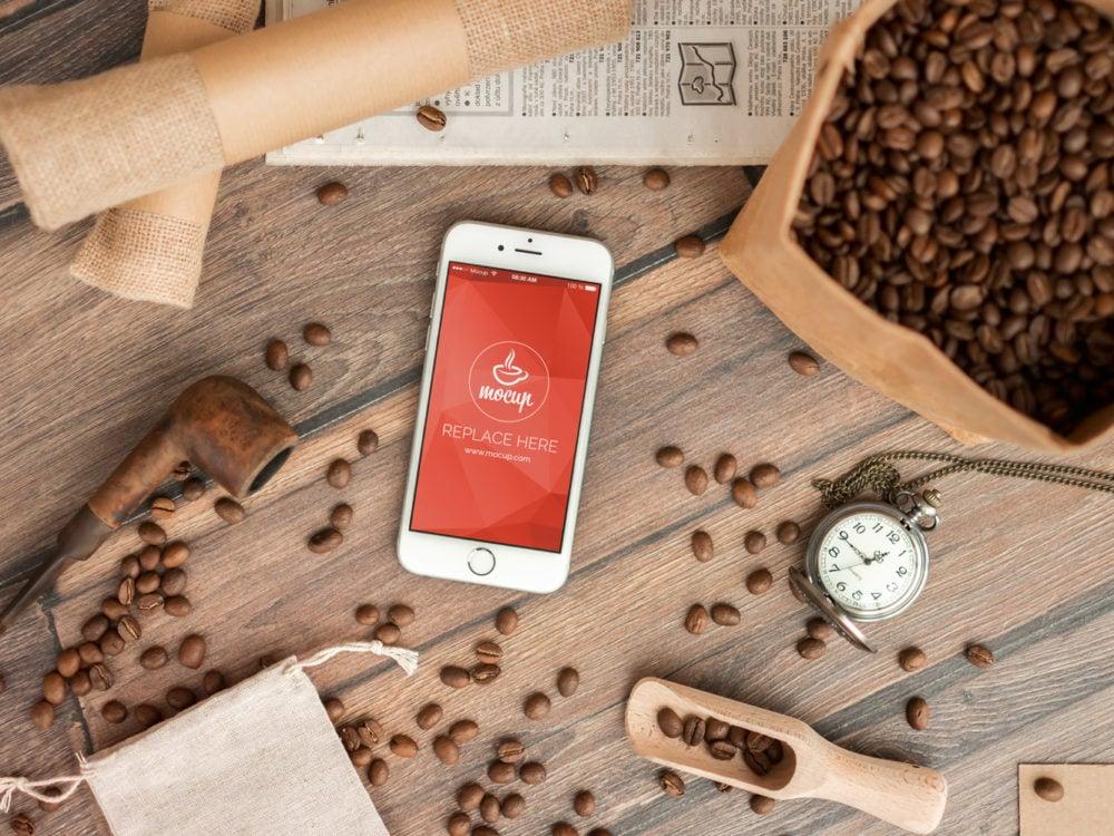 Free Coffee Branding iPhone 6 Mockup