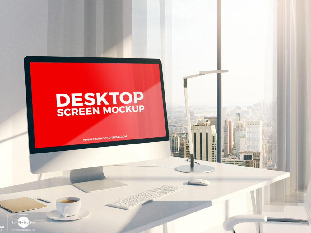 Free Designer Desktop iMac Screen Mockup