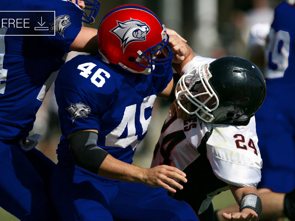 Free Football Player Helmet Logo Mockup PSD