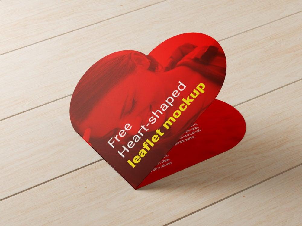 Free Heart-shaped Leaflet Mockup