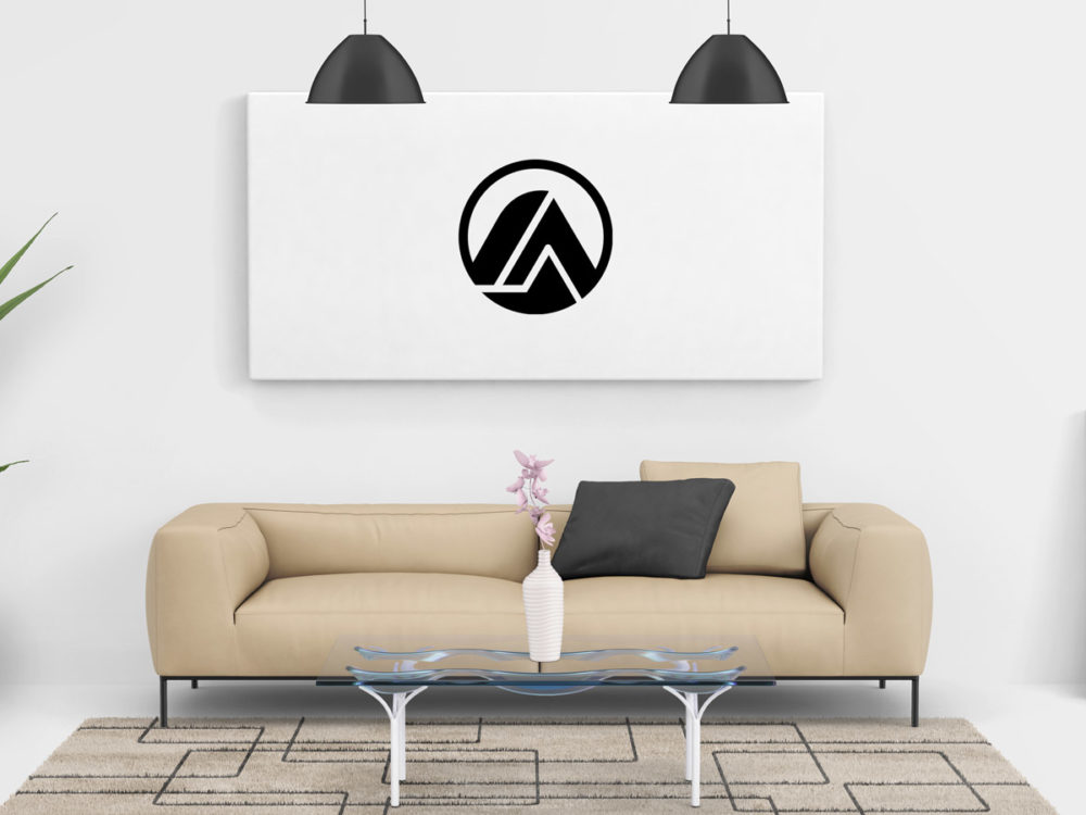 Free living room painting wall canvas mockup psd free mockup for Online drawing room