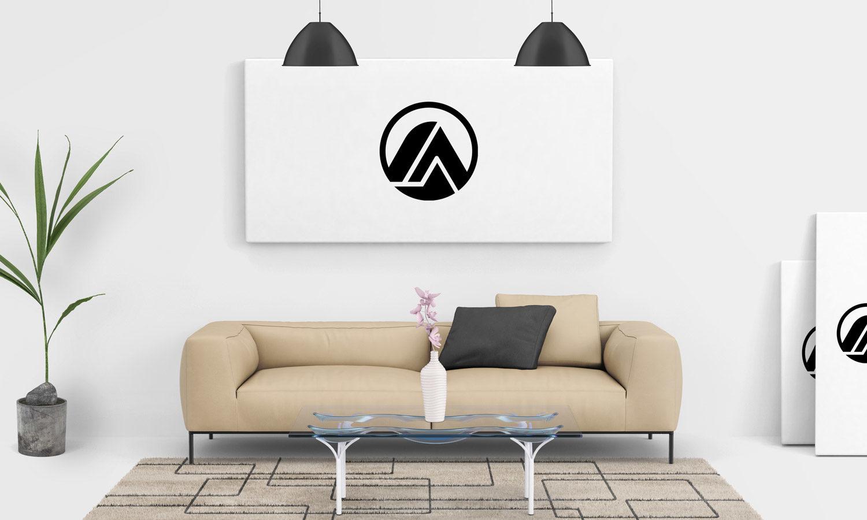 Free Living Room Painting Wall Canvas Mockup PSD | Free Mockup