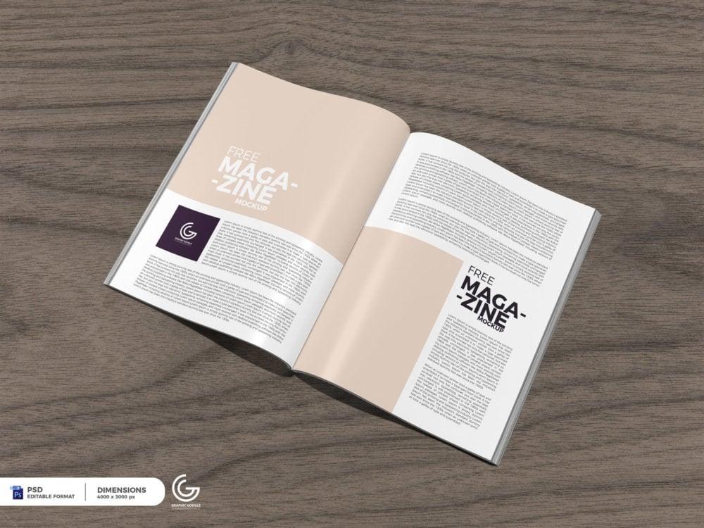 Open Magazine Mockup 2018 Free PSD