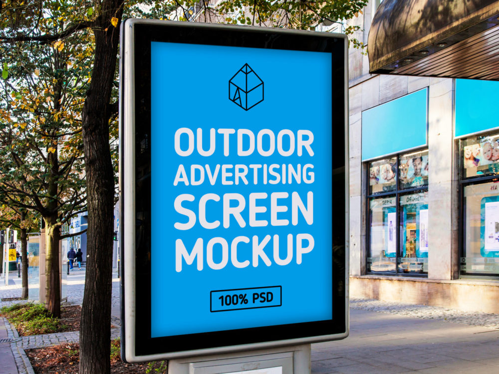 Free Outdoor Advertising Screen Mock-Up