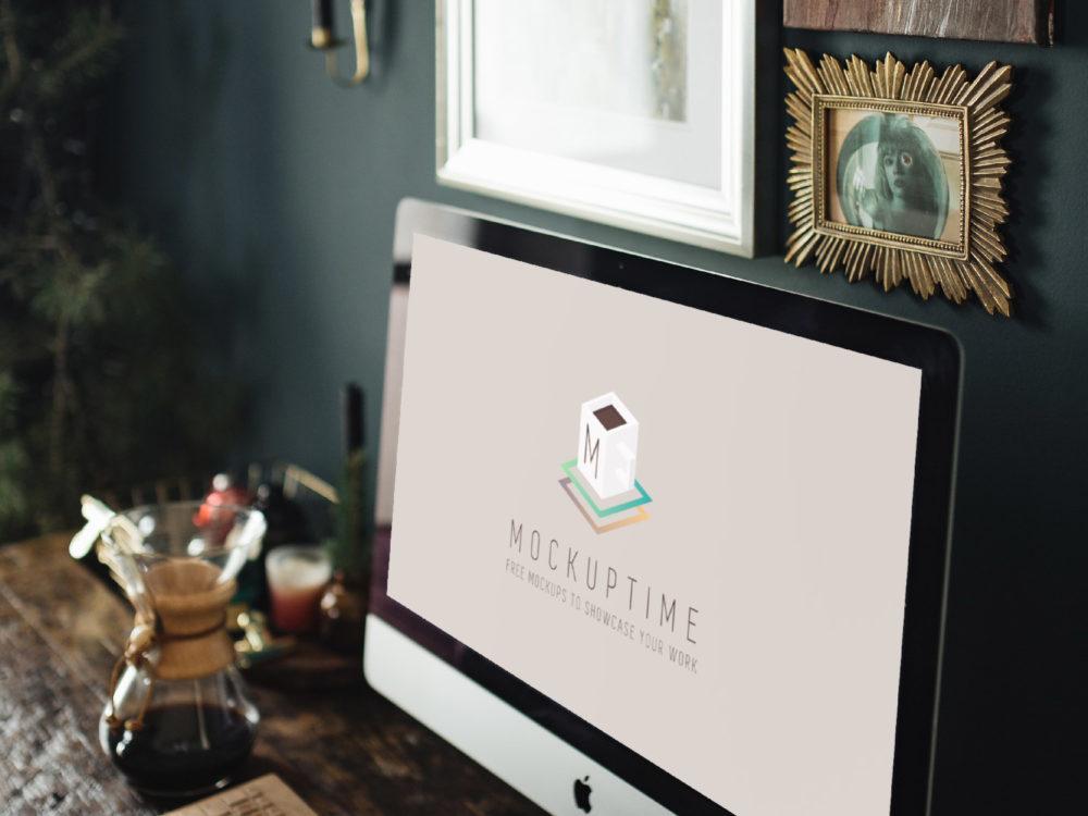 Free PSD Mockup iMac Workspace