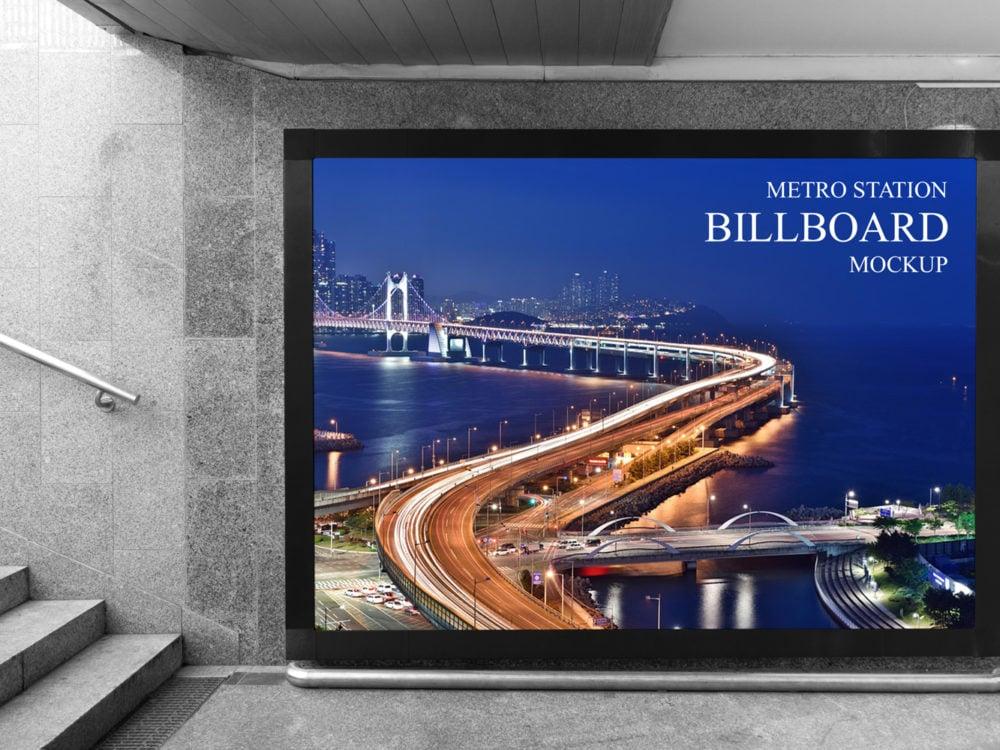 Free Underground Metro Station Billboard Mockup