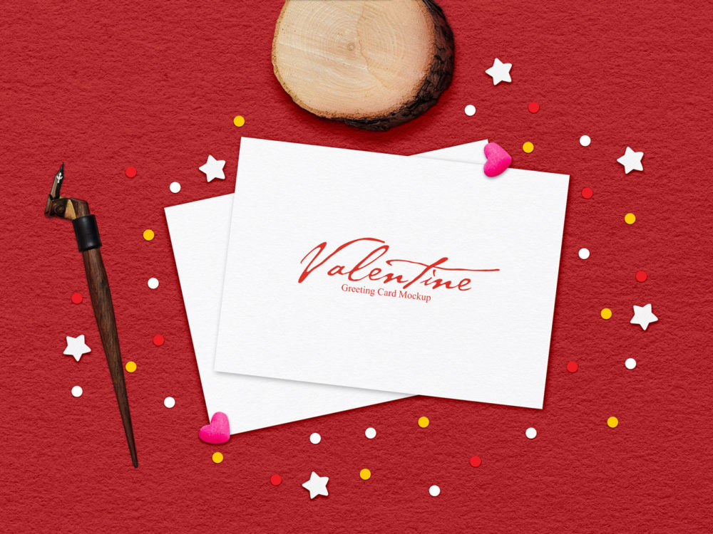 Free Valentine Greeting Card Mockup