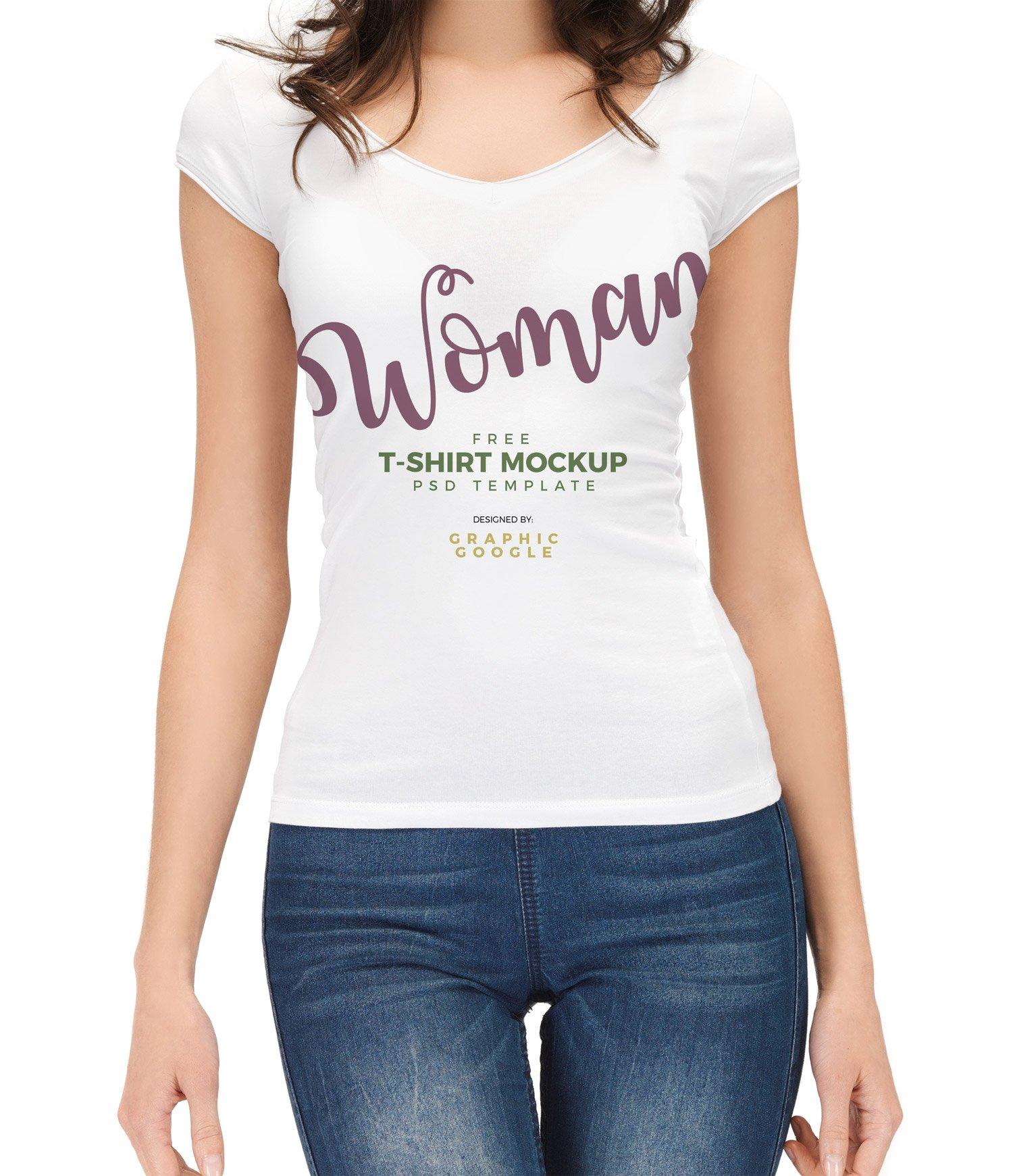 Free Woman T Shirt Mockup Psd Free Mockup