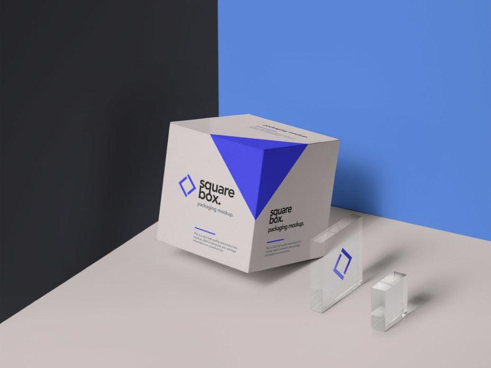 Square Box Packaging PSD Mockup