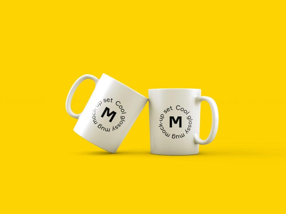Two Mugs on Yellow Background Mockup