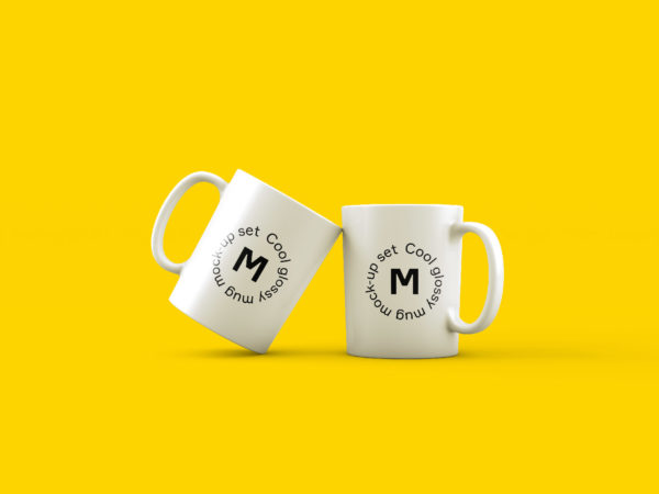 Two Mugs on Yellow Background Mockup