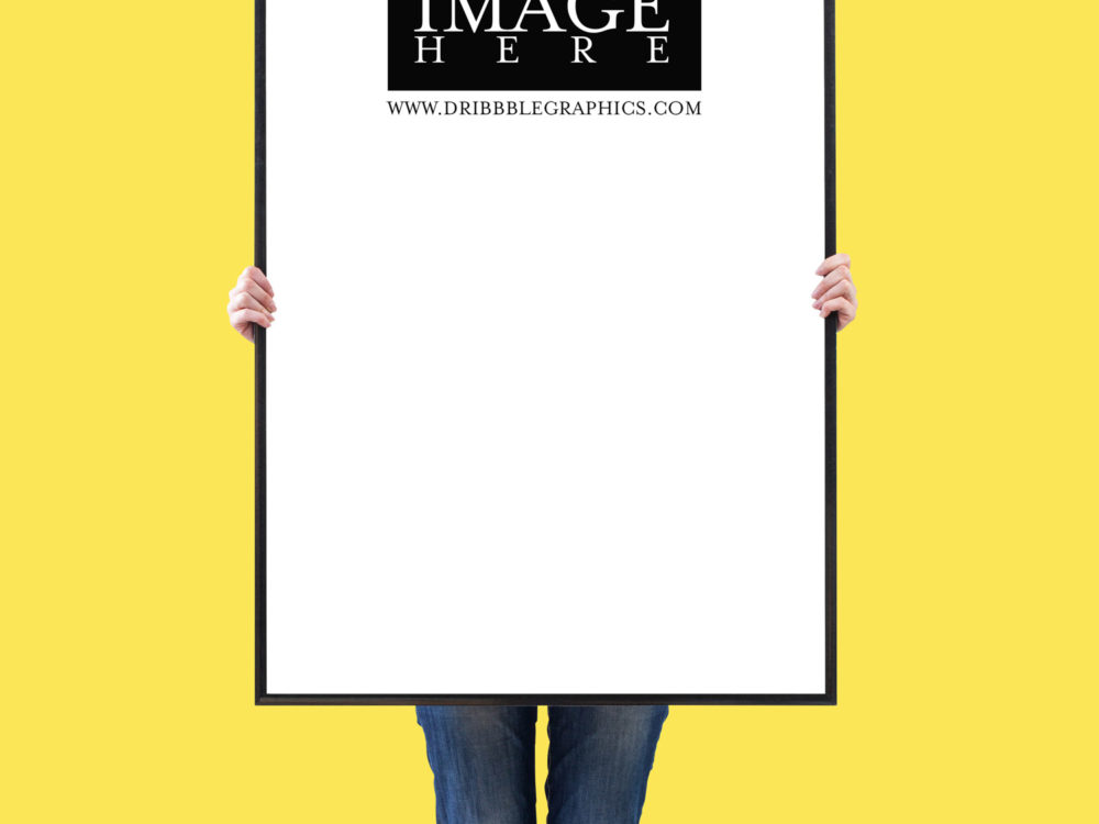 Woman Showing Vertical Poster Free Mockup 2018