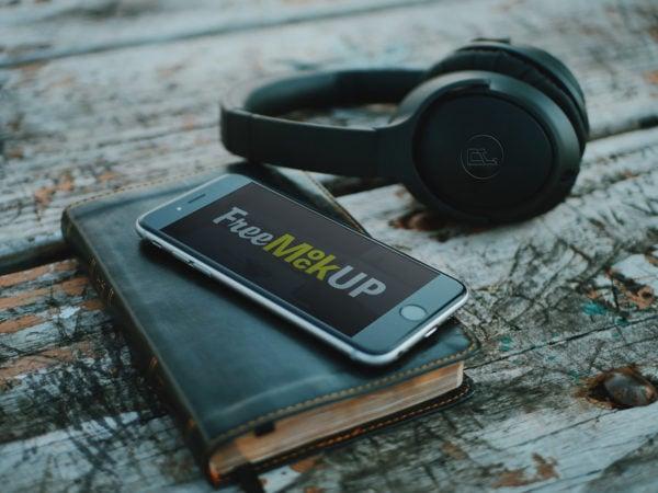 iPhone with Headphone PSD Mockup