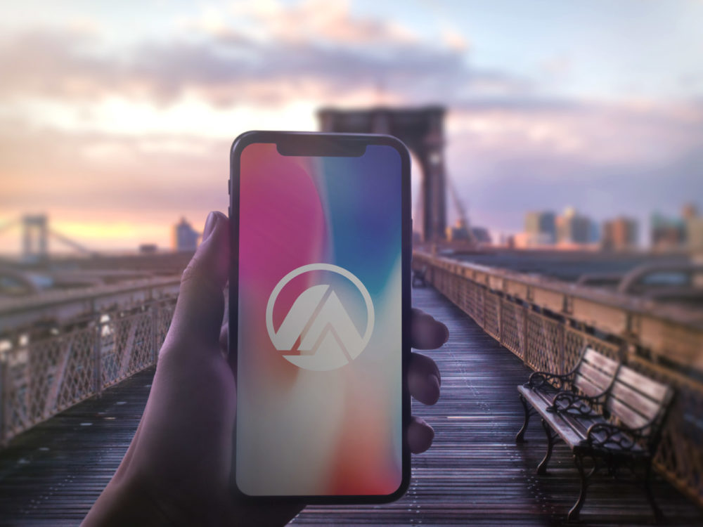 iPhone X in Hand Free PSD Mockup