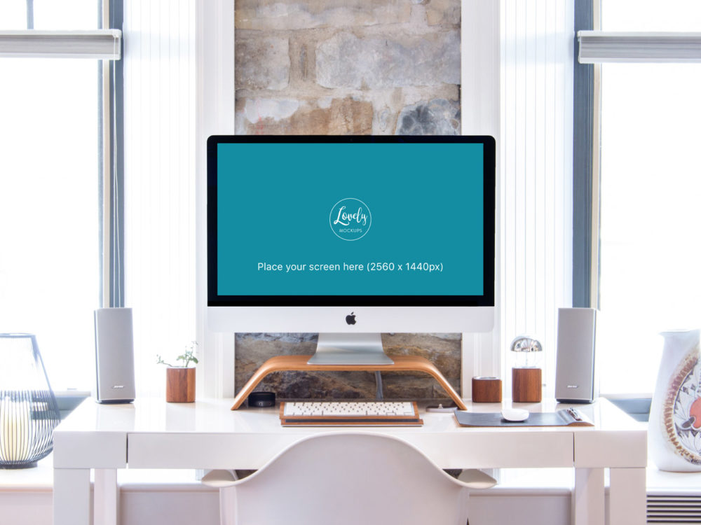Workspace With iMac in a Bright Interior
