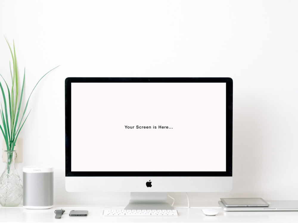 Apple iMac on the Table Free Mockup