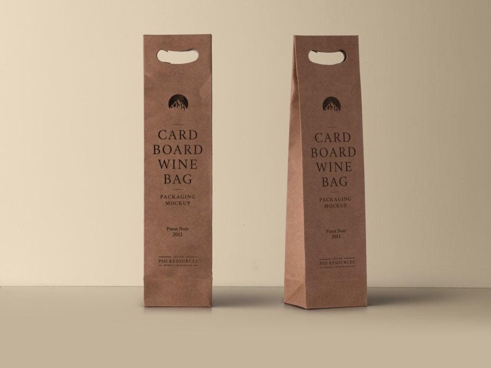 Wine Cardboard Bag Free Mockup