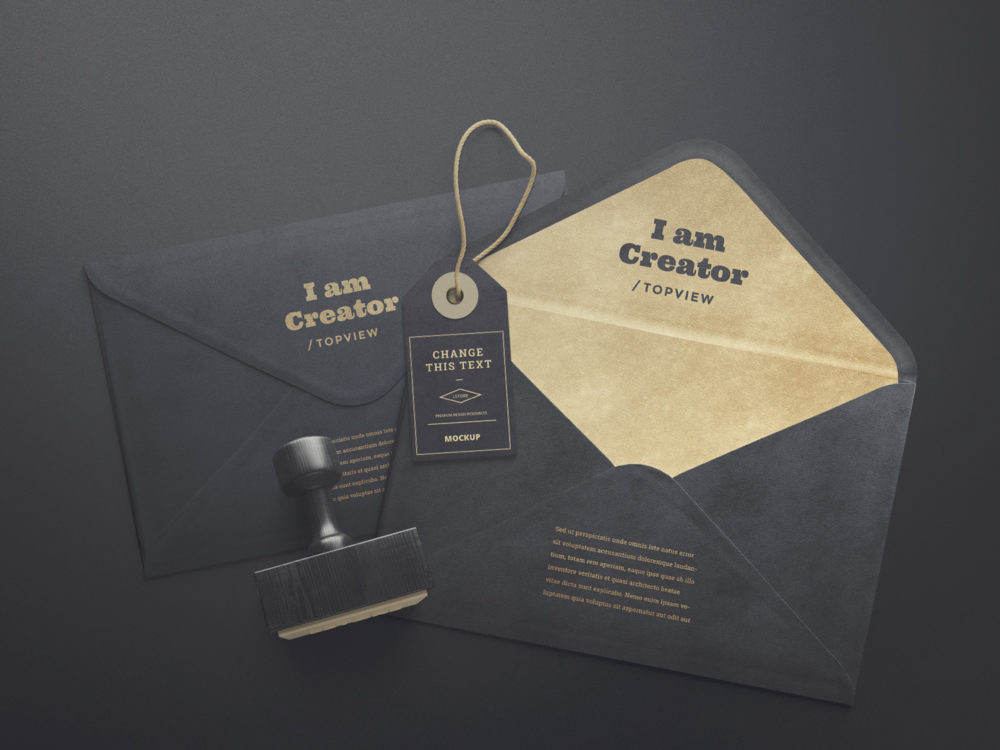 Envelopes and Tag Free Mockups