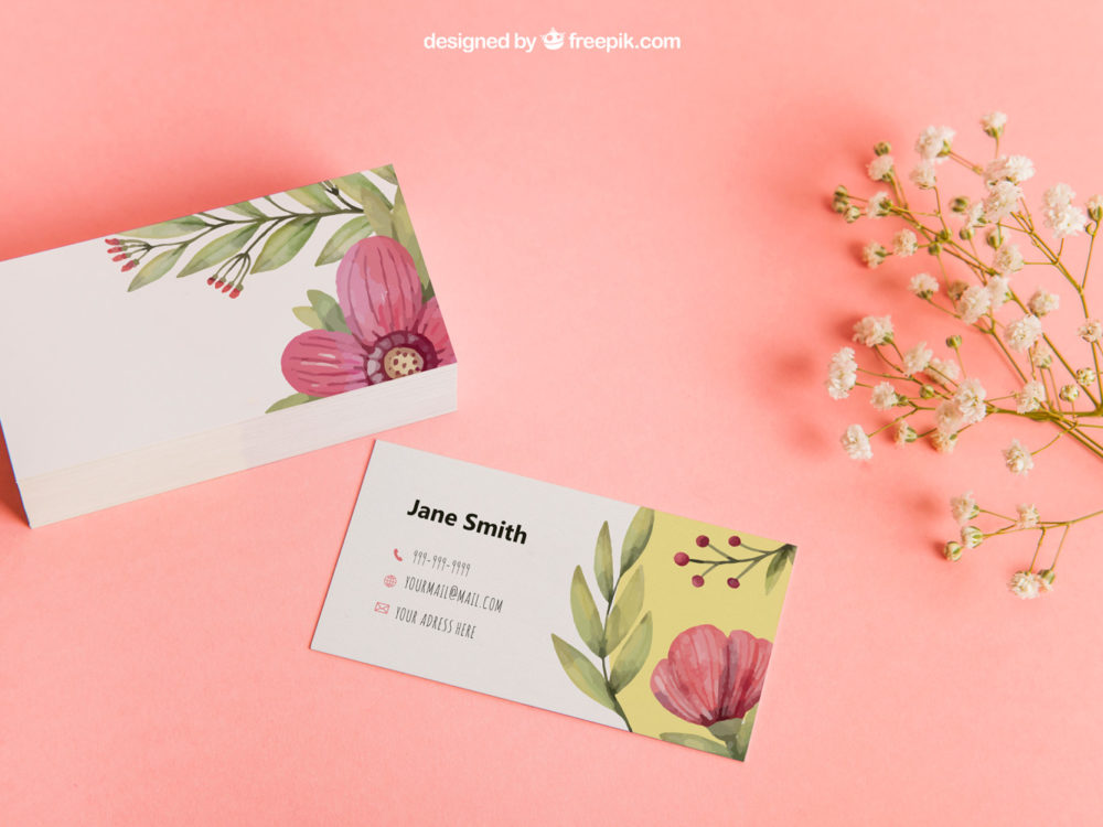 Floral Business Card Mockup | Free Mockup