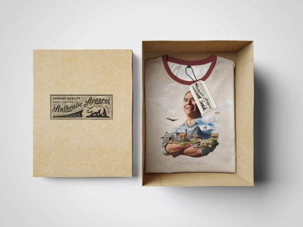 Folded T-Shirt in a Box Mockup