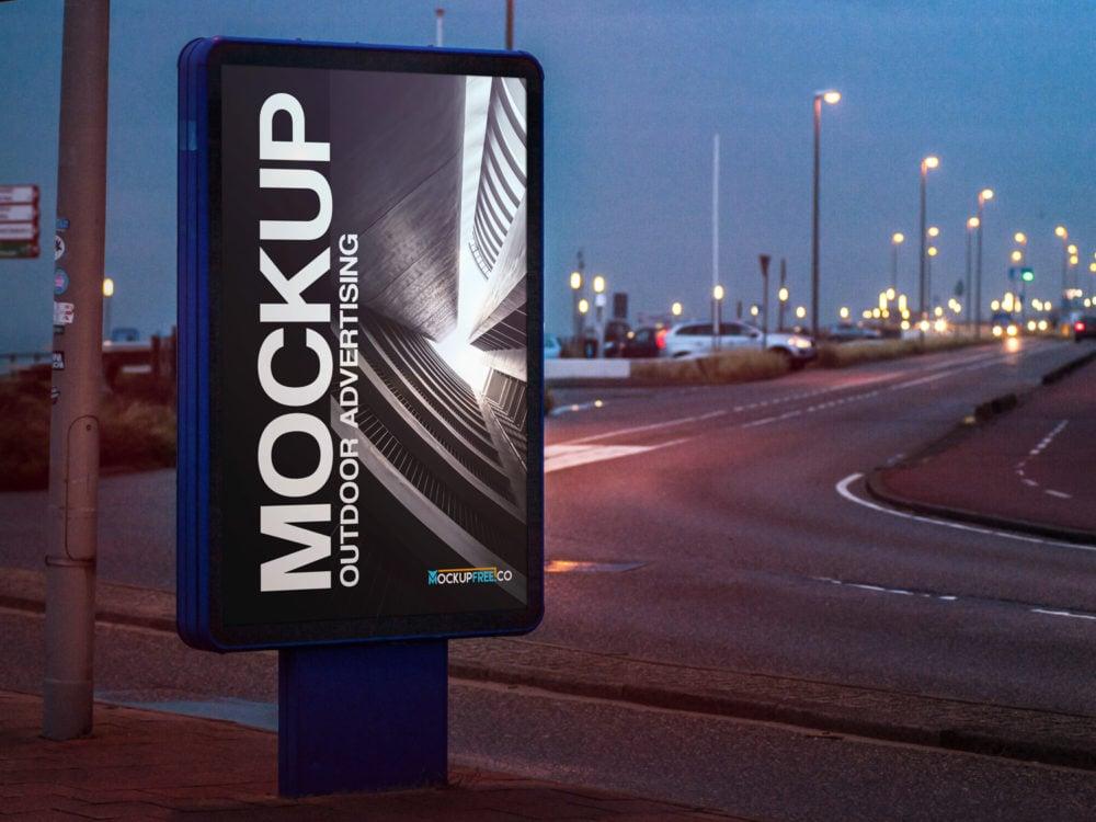 Free Bus Stop Outdoor Advertising Mockup