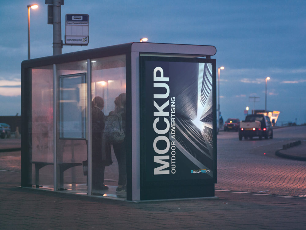 Free Bus Stop Outdoor Advertising Mockup