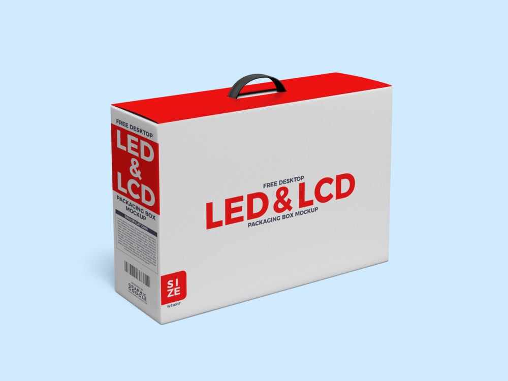 Free Desktop LCD and LED Packaging Box with Handle Mockup