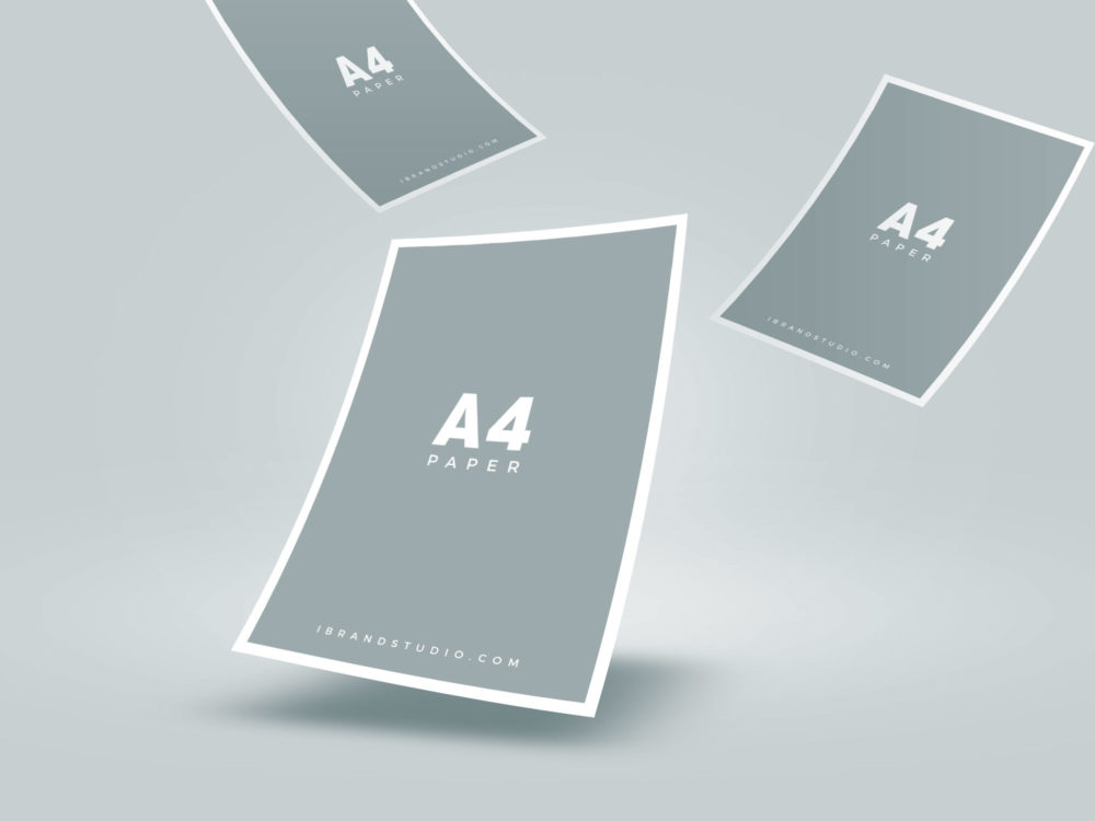 Free Floating A4 Paper Mockup
