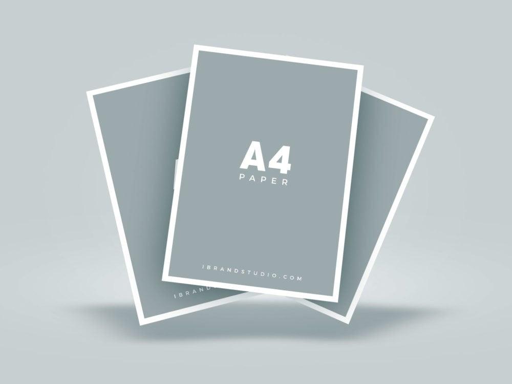 Free Floating A4 Paper Mockup