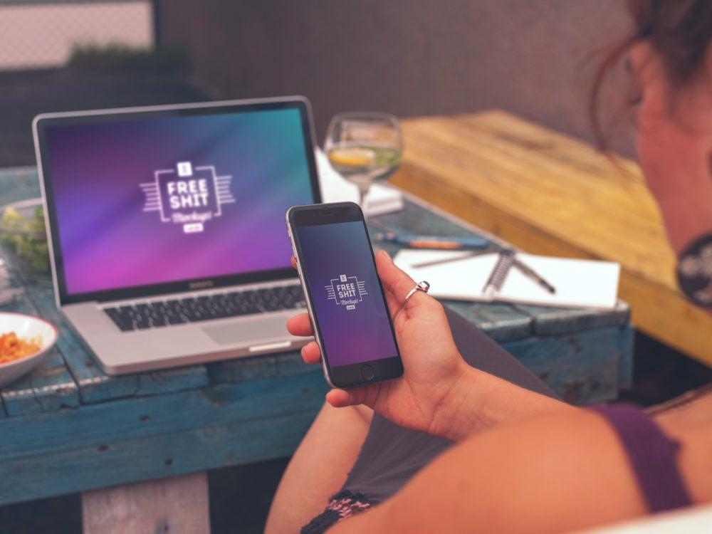 8 Hi-Res iPhone and MacBook Mockups
