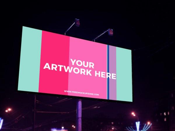 Free Night Scene Advertisement Billboard Mockup 2018