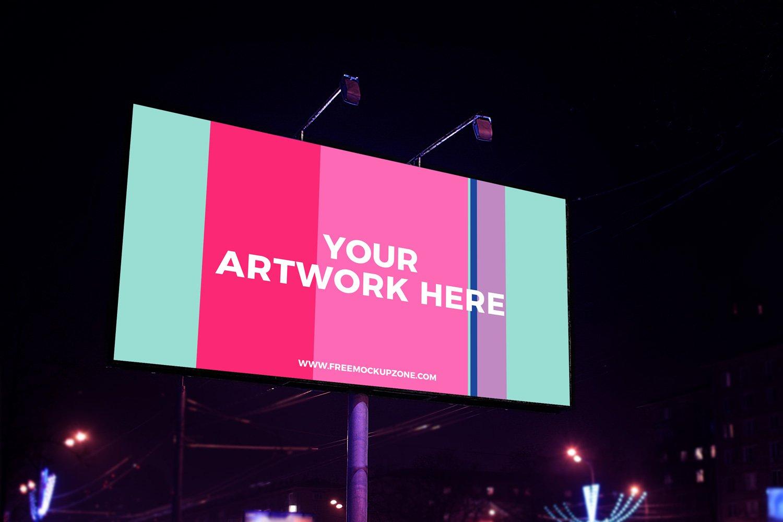 night scene advertisement billboard mockup 2018