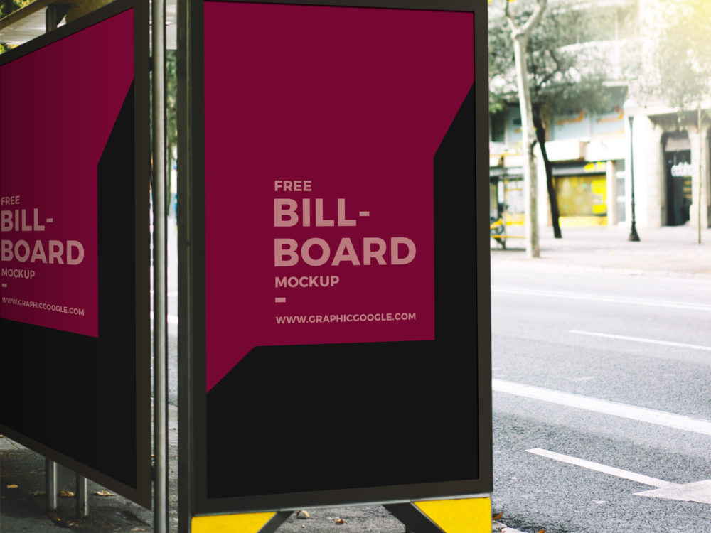 Free Outdoor Bus Stop Advertisement Billboard Mockup 2018