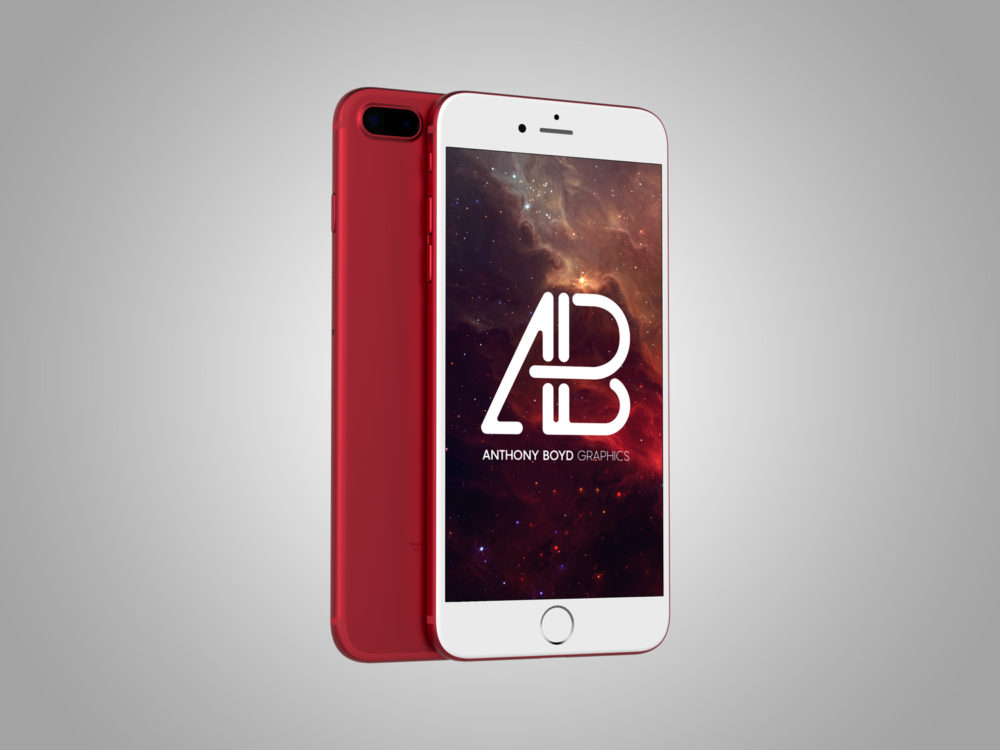 Free Red iPhone Mockup