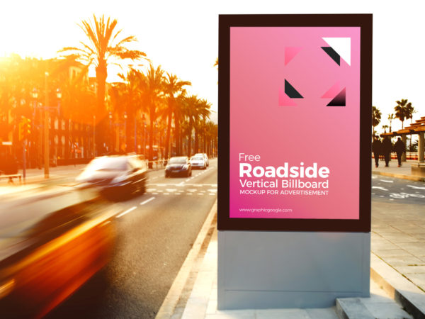 Free Roadside Vertical Billboard MockUp For Advertisement