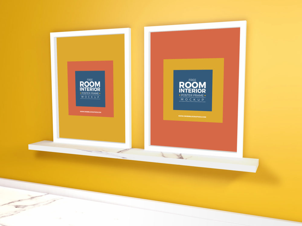 Free Room Interior With Marble Floor Poster Frame Mockup