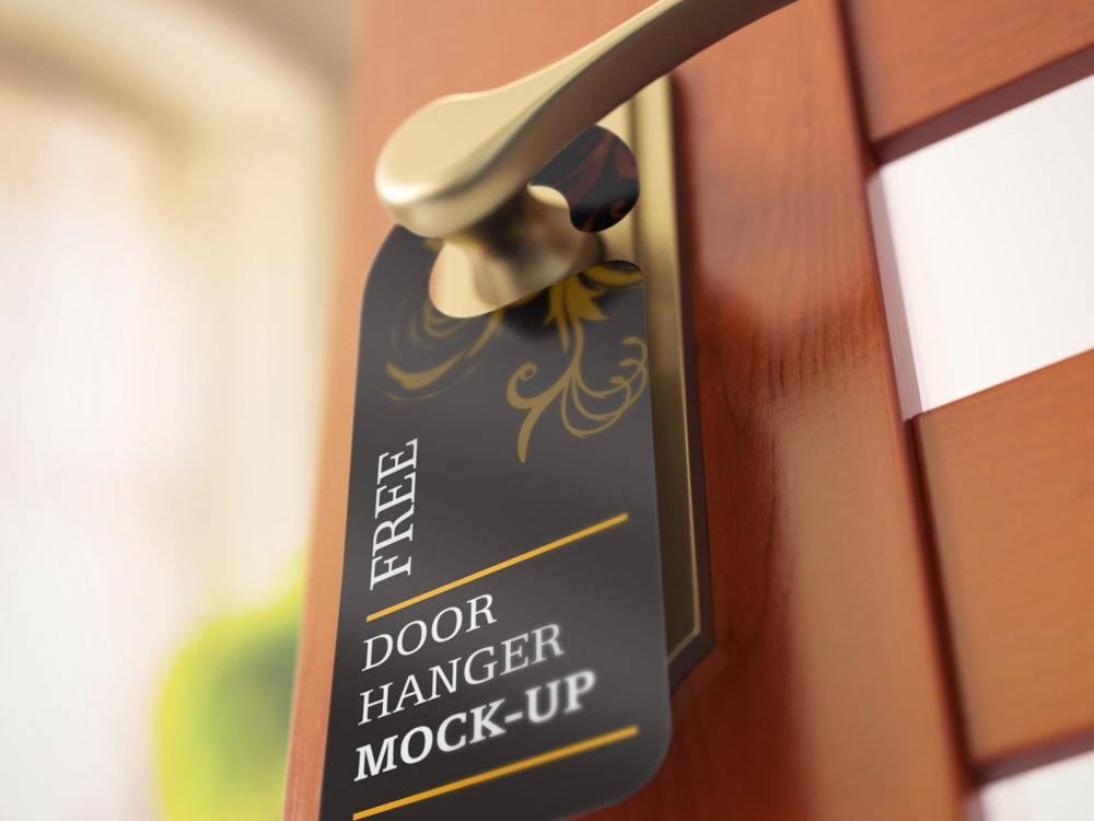 Free Set of Door Hanger Mockups