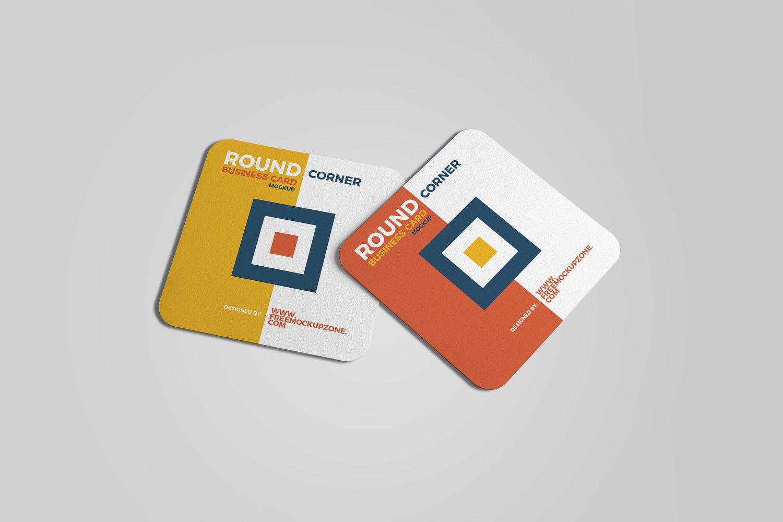 Square Round Corner Business Card 2018 Free Mockup