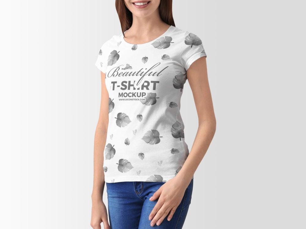 Free Young Woman T-Shirt 2018 mockup
