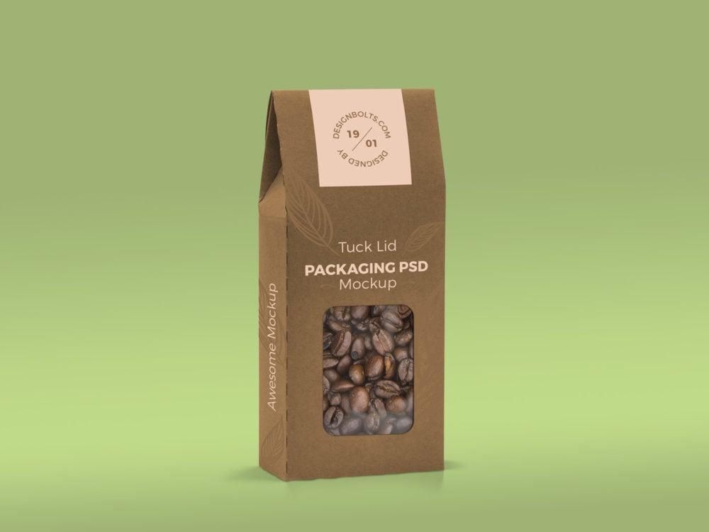 Free Tuck Lid Window Box Packaging Mockup