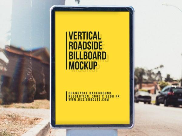 Free Vertical Street Billboard Mockup