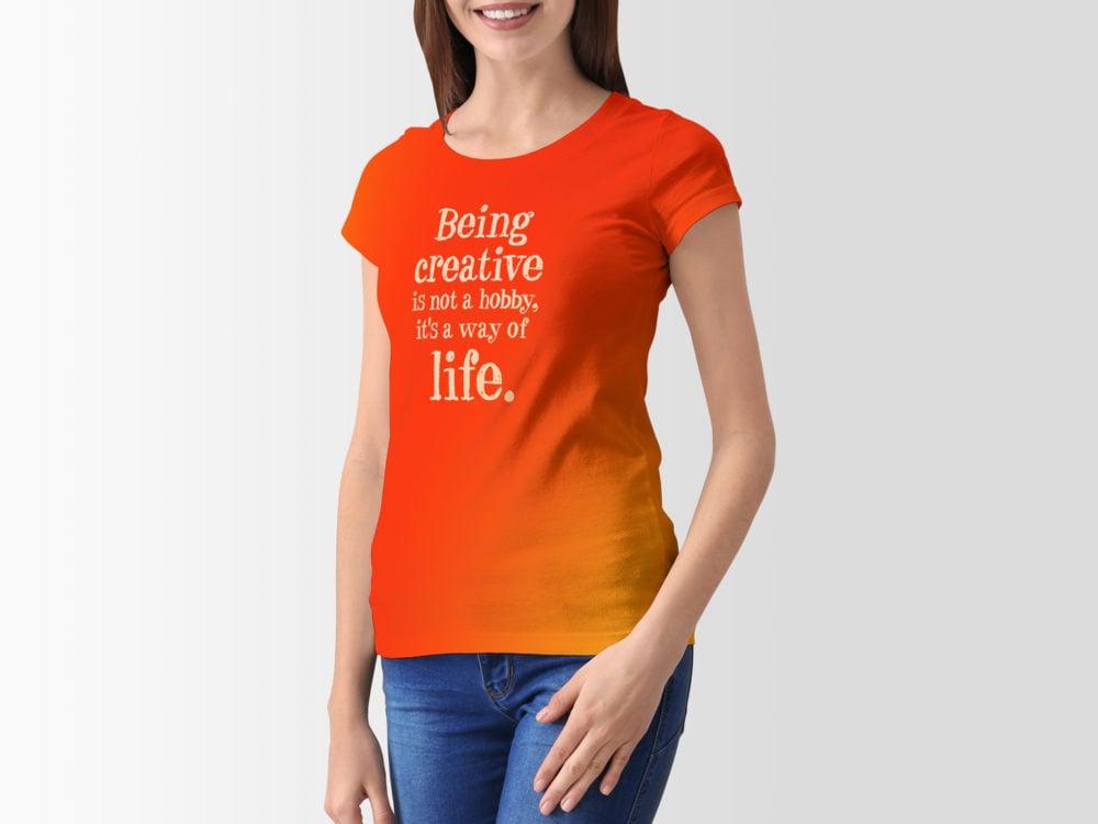 Girl T-Shirt Free PSD Mockup