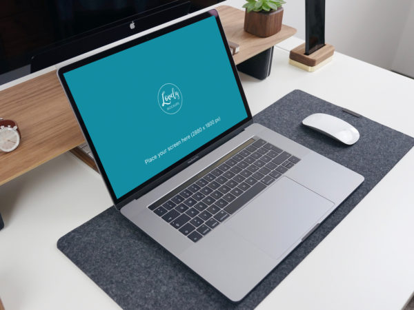 MacBook Pro on the Table Mockup